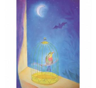 Postkaart  De zangvogel en de vleermuis (Brechtje Duijzer)