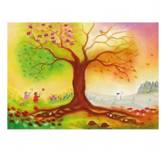 Postkaart De vier seizoenen boom(Baukje Exler)