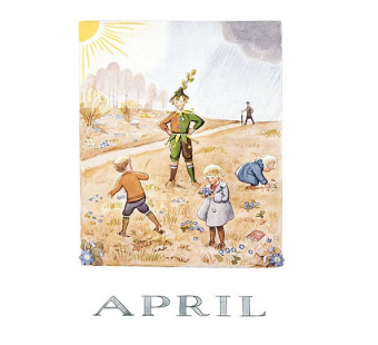 Postcard April (Elsa Beskow)