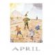 Postkaart April (Elsa Beskow)
