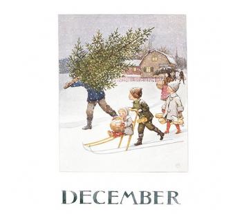 Postkaart December (Elsa Beskow)
