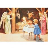 Postkaart Kersttafereel (Elsa Beskow)