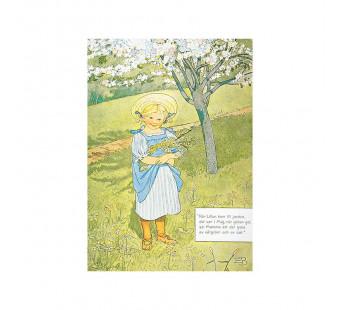 Postkaart meisje met bloemen in haar schort  (Elsa Beskow)
