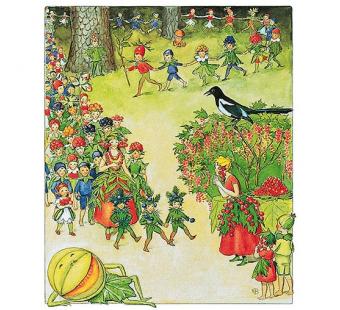 Postcard forest fruit children (Elsa Beskow)