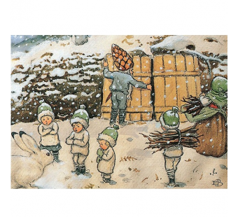 Postcard Rootchildren in the snow  (Elsa Beskow)