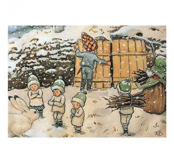 Postkaart Wortelkinderen in de sneeuw (Elsa Beskow)