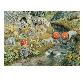 Postcard children of the forest near the water (Elsa Beskow)