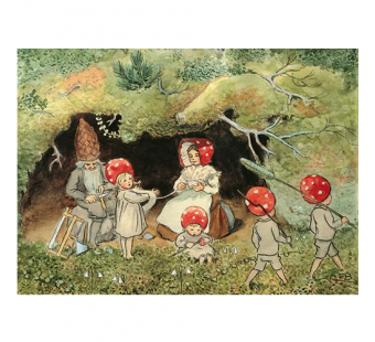 Postcard children of the forest winding wool (Elsa Beskow)