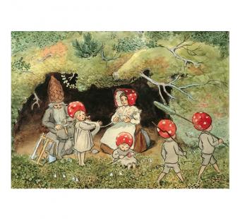 Postkaart de kabouterkinderen winden wol (Elsa Beskow)