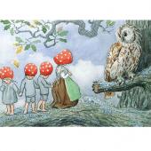 Postkaart de kabouterkinderen bij de uil (Elsa Beskow)