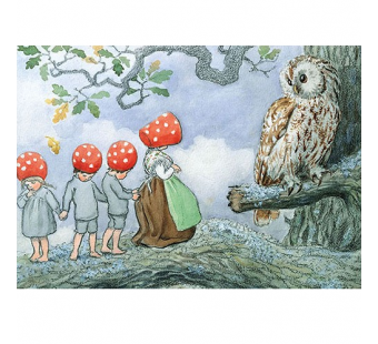 Postcard children of the forest and the owl (Elsa Beskow)