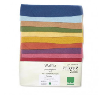 Filges set of 10 organic plant dyed pieces of woolfelt.
