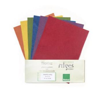 Filges 6 vellen biologische wolvilt heldere kleuren plantaardig geverfd