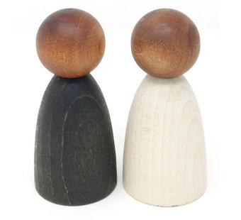 Grapat set van 2 grote nins donker hout  (18-181)