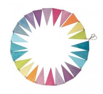 Grimms houten vlaggen slinger pastelkleuren (70246)