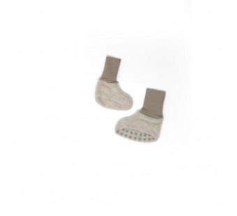 Cosilana baby boots made of woolcotton fleece  latte macchiato (48910)