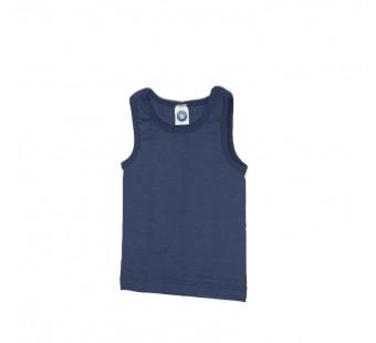 Cosilana sleeveless shirt 70% wool 30% silk blue (71230)