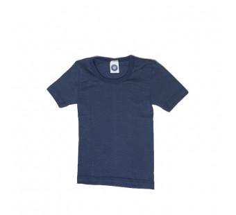 Cosilana short sleeve wool/silk navy  (71232)