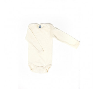 Cosilana long sleeved baby body 70% wool en 30% silk natural (71053)