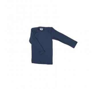 Cosilana lange mouw t-shirt met envelophals 70% wol 30% zijde navy (71033)