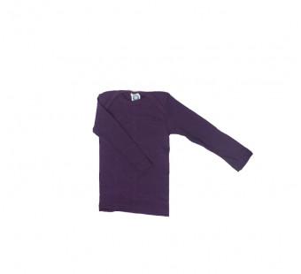 Cosilana lange mouw t-shirt met envelophals 70% wol 30% zijde  donkerpaars(71033)
