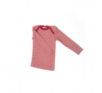 Cosilana lange mouw t-shirt met envelophals 70% wol 30% zijde  rood gestreept (71033)