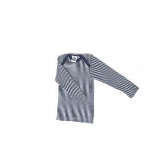 Cosilana lange mouw t-shirt met envelophals 70% wol 30% zijde navy gestreept (71033)