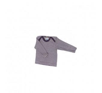 Cosilana lange mouw t-shirt met envelophals 70% wol 30% zijde  donkerpaars gestreept (71033)