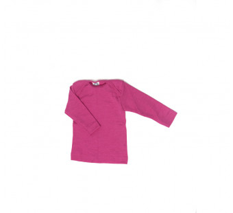 Cosilana envelope-neck vest long sleeve 70% wool 30% silk pink (71033)