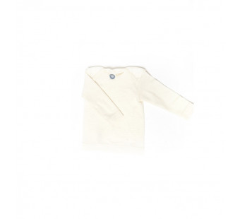 Cosilana lange mouw t-shirt met envelophals 70% wol 30% zijde  naturel (71033)