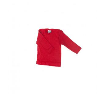 Cosilana lange mouw t-shirt met envelophals 70% wol 30% zijde  rood (71033)