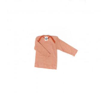 Cosilana lange mouw t-shirt met envelophals 70% wol 30% zijde  oranje gestreept (71033)