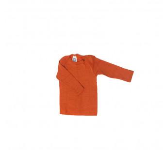 Cosilana lange mouw t-shirt met envelophals 70% wol 30% zijde  oranje (71033)