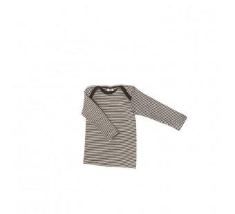 Cosilana lange mouw t-shirt met envelophals 70% wol 30% zijde  bruin gestreept (71033)
