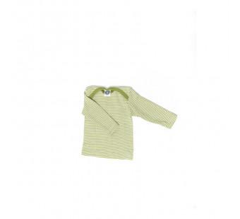 Cosilana lange mouw t-shirt met envelophals 70% wol 30% zijde  groen gestreept (71033)