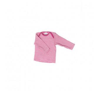 Cosilana lange mouw t-shirt met envelophals 70% wol 30% zijde  roze gestreept (71033)