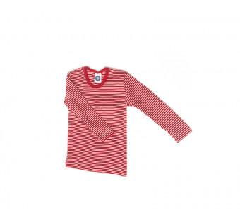 Cosilana lange mouw shirt 70% wol 30% zijde rood gestreept (71233)