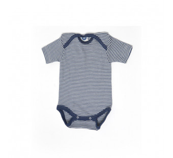 Cosilana short sleeved baby romper 70% wool 30% silk  navy striped (71052)