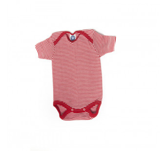 Cosilana short sleeved baby romper 70% wool 30% silk  red striped (71052)