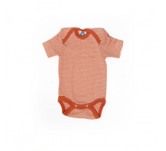 Cosilana short sleeved baby romper 70% wool 30% silk  orange striped (71052)