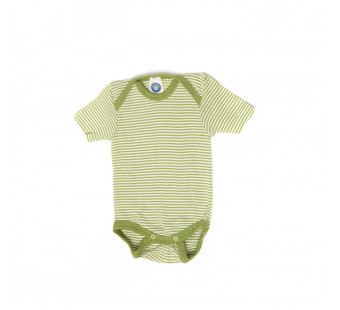 Cosilana short sleeved baby romper 70% wool 30% silk green striped (71052)