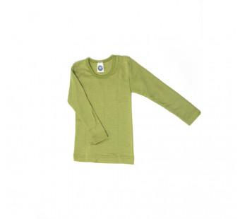 Cosilana lange mouw shirt 70% wol 30% zijde effen groen(71233)