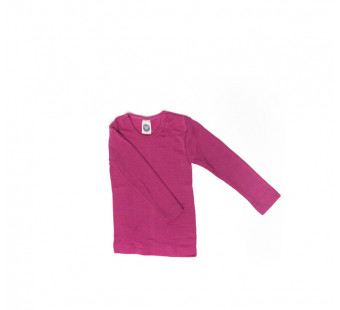 Cosilana lange mouw shirt 70% wol 30% zijde effen roze (71233)