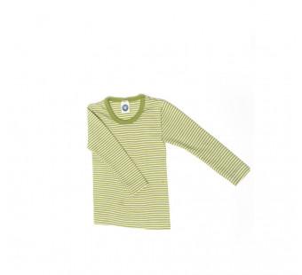 Cosilana long sleeve shirt  70% wool 30% silk green striped 92cm+ (71233)