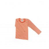 Cosilana langemouw tshirt 70% wol 30% zijde oranje gestreept