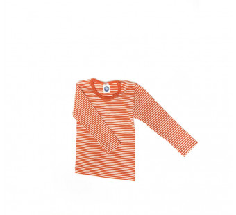 Cosilana lange mouw tshirt 70% wol 30% zijde oranje gestreept (71233)