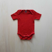 Cosilana short sleeved baby romper 70% wool 30% silk  red (71052)
