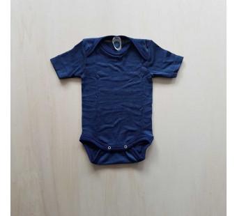 Cosilana short sleeved baby romper 70% wool 30% silk  marine (71052)