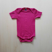 Cosilana short sleeved baby romper 70% wool 30% silk  pink (71052)