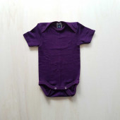 Cosilana short sleeved baby romper 70% wool 30% silk  Purple (71052)